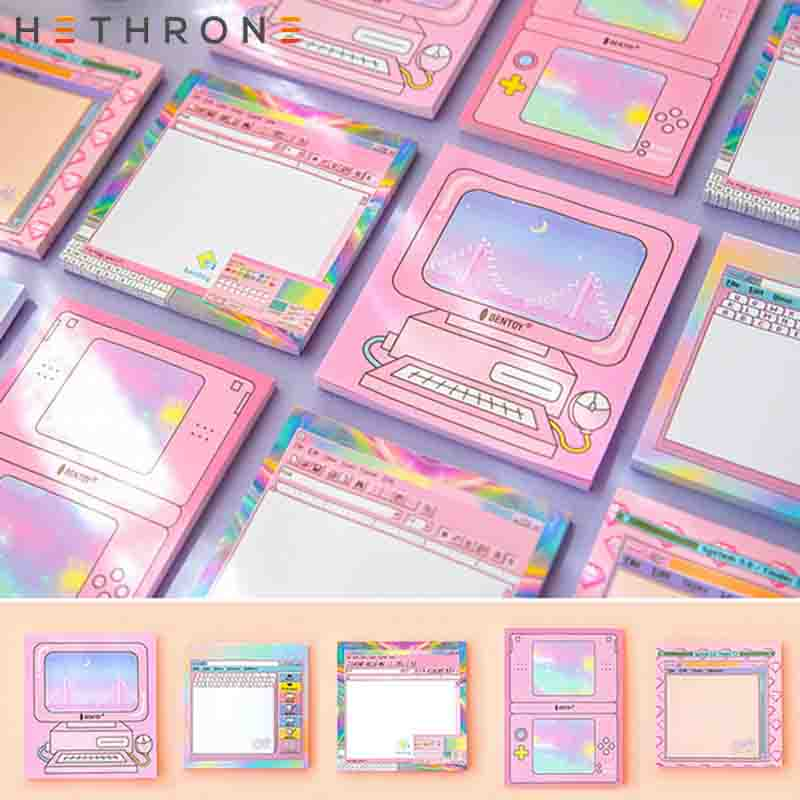 Hethrone New Arrival Cute Computer Game Machine Self-adhesive Notes Kawaii Life Sticky Notes Planner Papeleria Sticker Memo