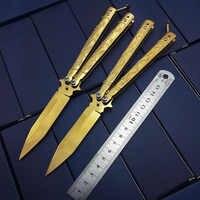 Oro titanio de alta calidad dragón Fénix mariposa en cuchillo de práctica cuchillo de entrenamiento NO afilado Un extremo afilado cuchillos de supervivencia