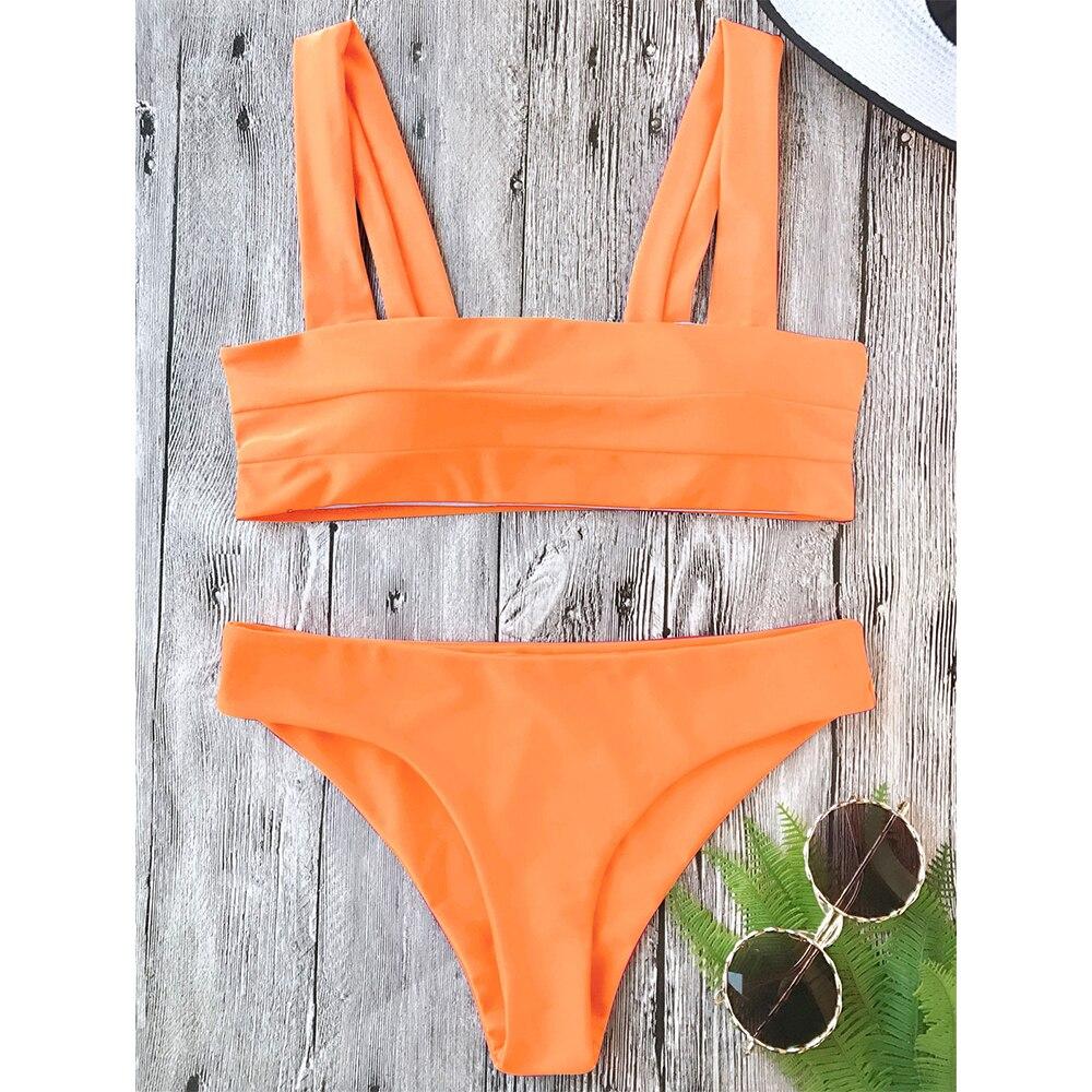 62cc4cbbeb1bb ZAFUL 2019 Wide Straps Padded Bandeau Bikini Set Sexy Square Neck Pullover  Top and Bottoms Brazilian