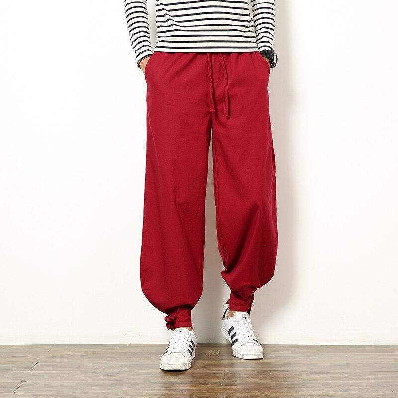 M-5XL!!! homme style chinois vintage bloomers couleur unie bref lâche grande taille pantalons décontractés rouge