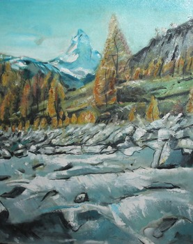 Impressionist Mountain Landscape Oil Painting on Canvas for Home Decoration Wall Art Vertical Hand Painted
