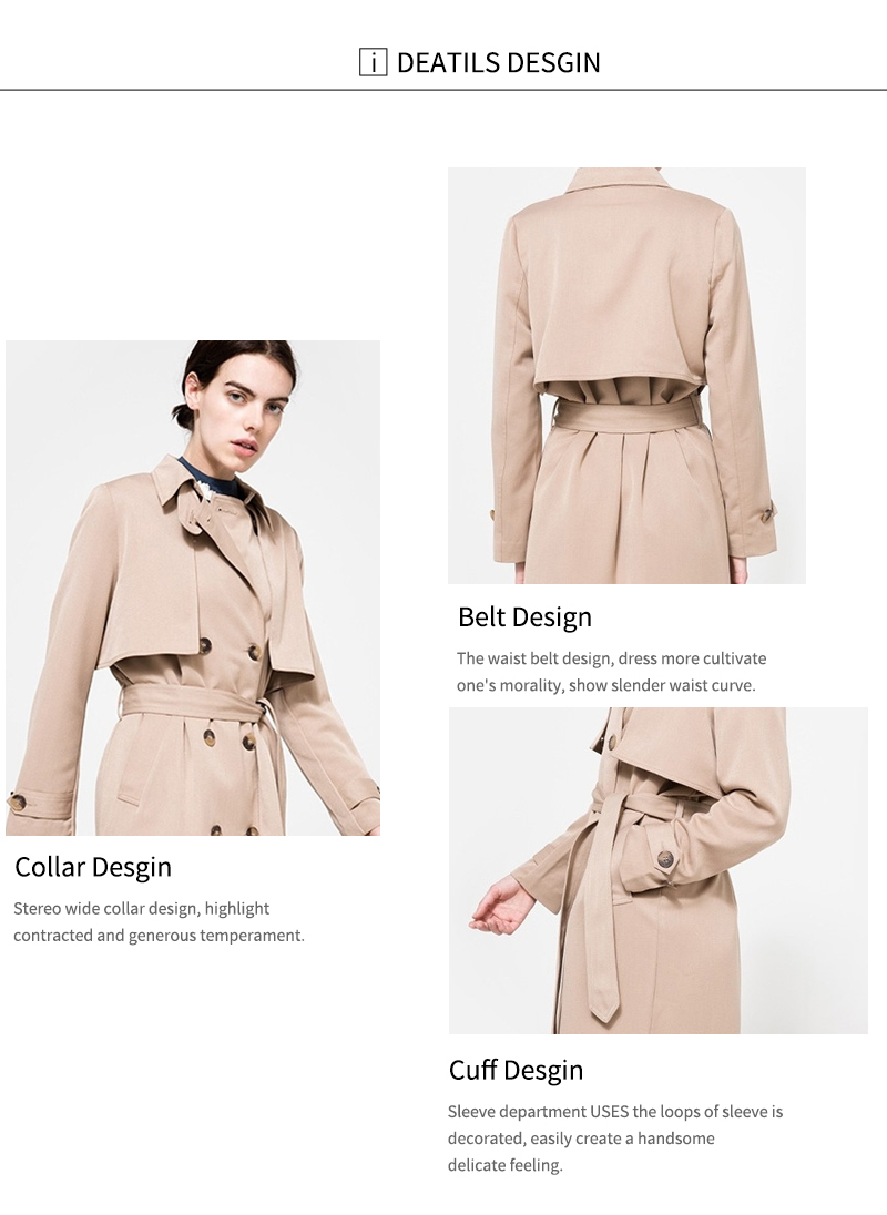 HDY Haoduoyi 19 Autumn New High Fashion Brand Women Classic Double Breasted Trench Coat Waterproof Raincoat Business Outerwear 6