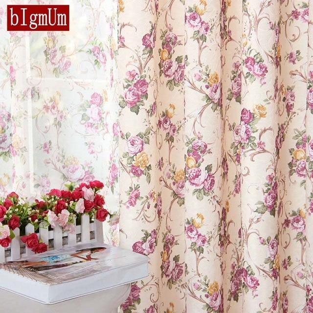 European Floral Style Window Curtain For Kitchen/ Living Room Rustic  Elegant Door Bedroom Voile Blinds