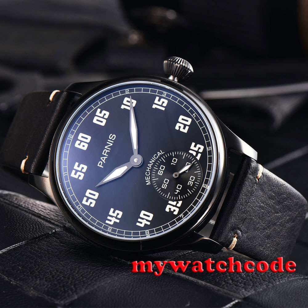 44mm parnis black dial luminous PVD case 6498 movement hand winding mens watch цена и фото