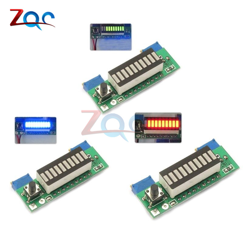 Electric Vehicle Parts Green Electronic Diy Kits Led Display Board 3.7v Lithium Battery Capacity Indicator Module Led Power Level Tester 12v