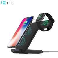 DCAE 2 in 1 Qi Wireless Charger 10W Fast Charging Pad Stand Station Holder for Apple Watch For iphone XS MAX X 8 Samsung S9 S8