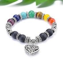 SA SILVERAGE Natural Stone Men Energy Trendy Handset Colorful Yoga Bracelet Handmade Beaded Mens Heart Pendant Strand Bracelets