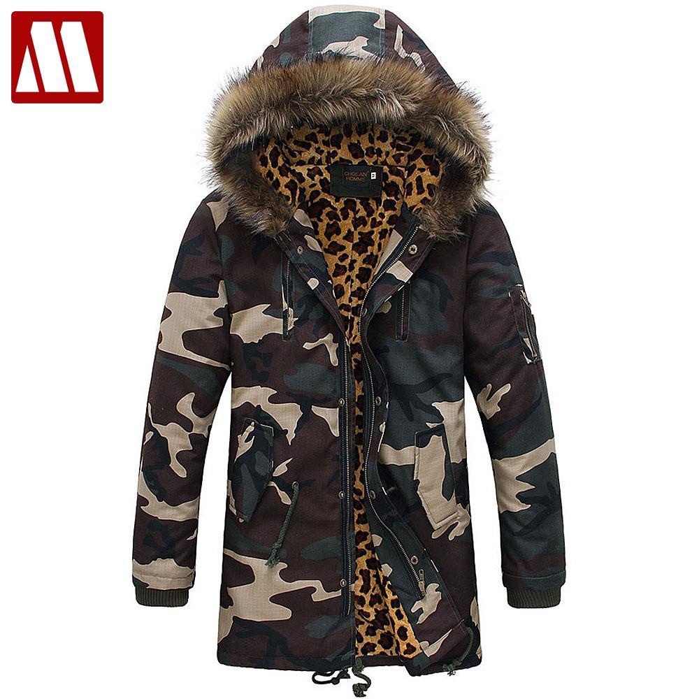 Hommes D'hiver Léopard Camouflage Coton Vestes 2018 Nouvelle Arrivée Marque De Mode hommes Camo de Parkas Neige Manteau D'hiver S M L XL XXL D454