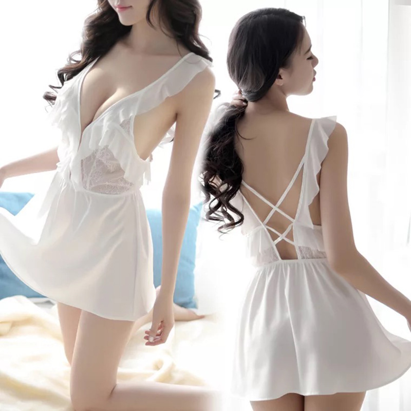2018 Fashion Women erotic costumes Sexy Nightgowns Sleepshirts Open Back Lingerie Lace Babydoll Sleepwear T-string