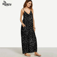 Ruoru Casual Spaghetti Strap Summer Maxi Dress Long Holiday Beach Dress Floral Printed Bohemian Dress Plus