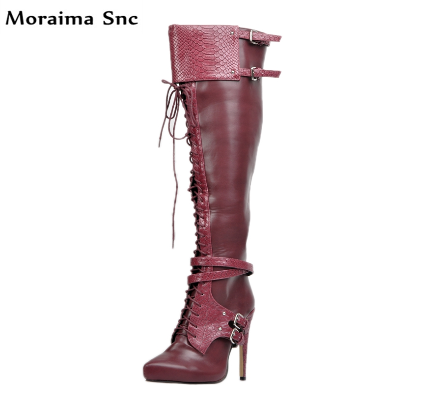 все цены на Moraima Snc fashion women long Boots platform Round toe Turned-over Edge lace-up Ankle cross strap Embellishment stilettos heel