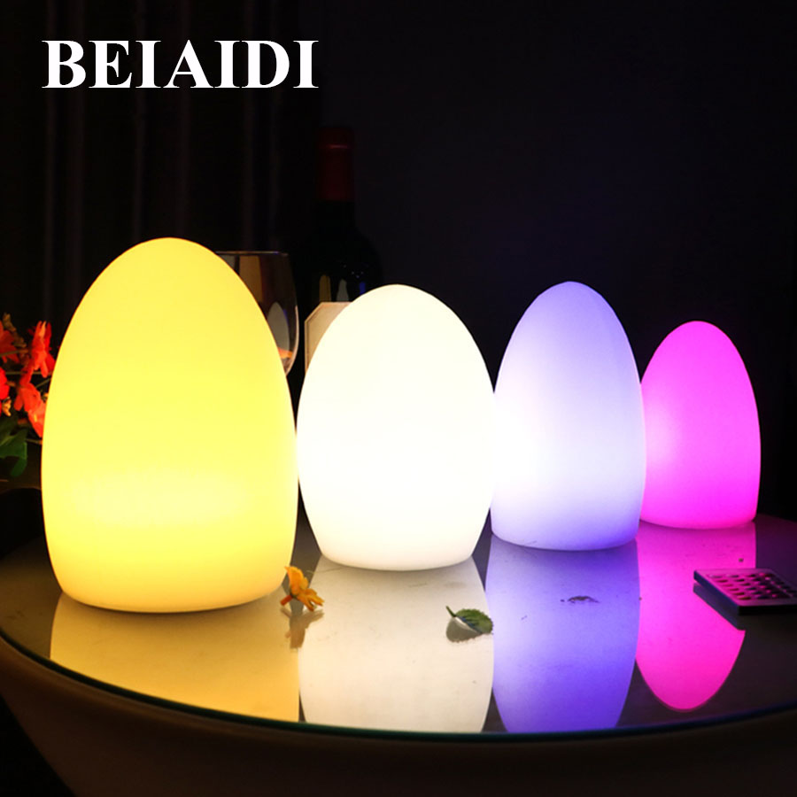 BEIAIDI IP65 Outdoor Egg Shape Mood Lamp 16 Color Rechargeable Furniture Bar Restuarant Hotel Table Mood Night Light With Remote