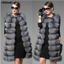 Aikooki Faux Fox Women Winter High Quality Luxury Fluffy Imitation Fox Fur Vest Women Long Warm