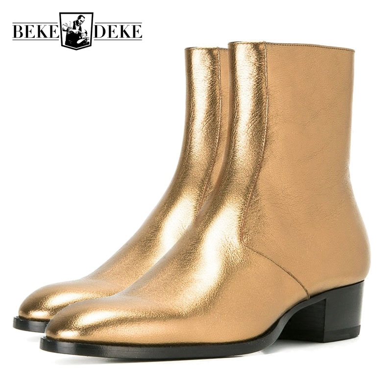 Top Quality Chelsea Boots Zipper Western Boot Gold Metallic Leather Ankle Boots Mens Leather Shoes Plus Size 36-47 Free Shipping