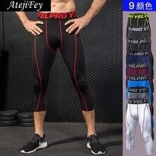 Fitness Capri Leggins Running Yoga Cropped Men Jogging Gym Workout Elastic dry Fit Pants Sports 2018 Leggings