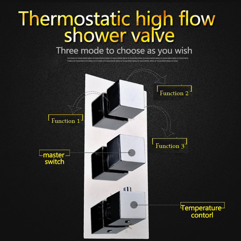 Bath Shower Faucet Rianfall Shower System 12 inch Square Showerhead Tap Thermostatic Shower Set with 6 pcs Body Spray in Shower Faucets from Home Improvement