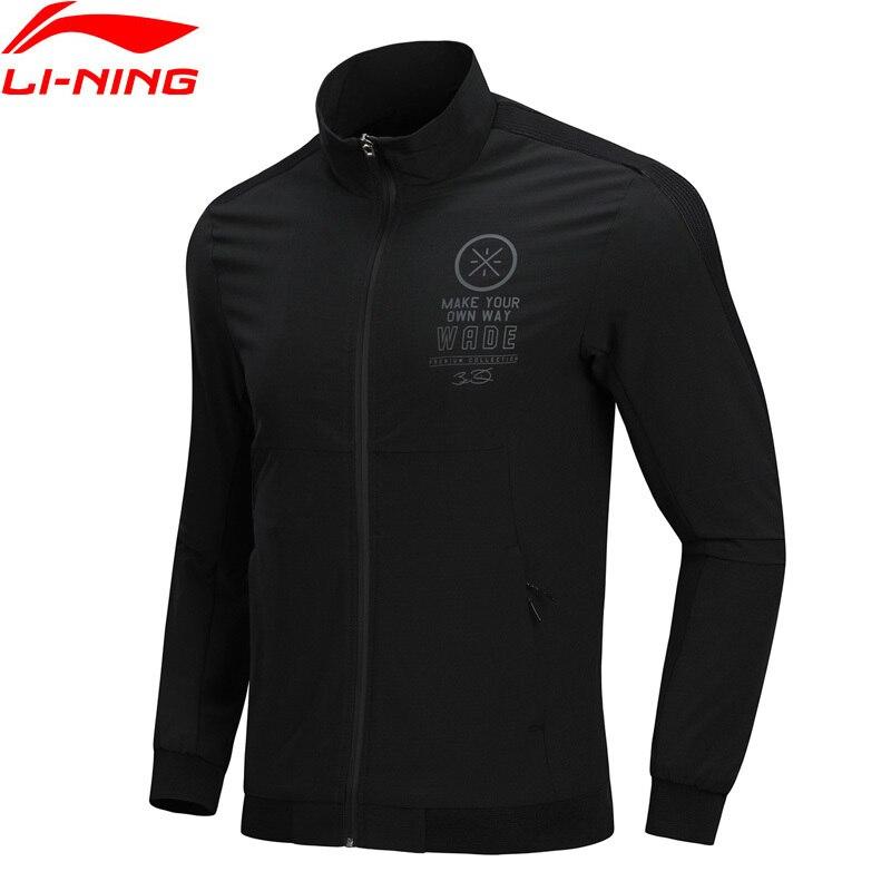 Li-Ning Men Wade Series Zipper Jacket Slim Fit Comfortable Flexible Breathable LiNing Sports Solid Black Coat AJDN131 L1040LN slim fit zipper front mens jacket