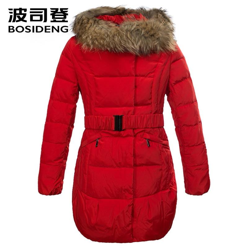 BOSIDENG/зимняя утепленная куртка-пуховик для женщин средней длины, зимняя верхняя одежда, тонкий натуральный мех, высокое качество, распродажа...