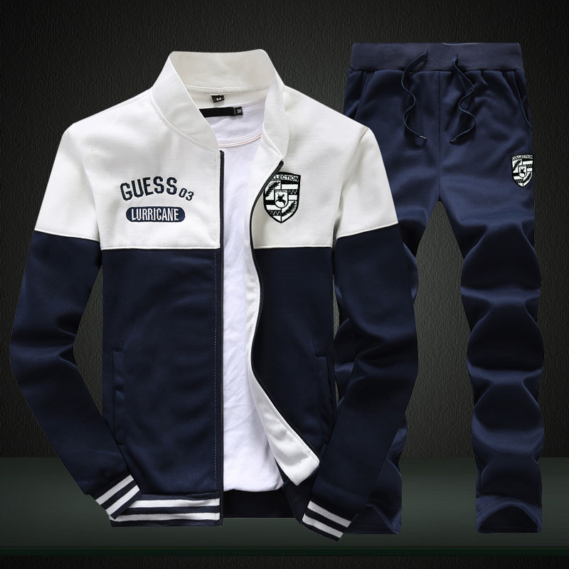 2019 New Men Sets Fashion Sporting Suit Brand Patchwork Zipper Sweatshirt +Sweatpants Mens Clothing 2 Pieces Sets Slim Tracksuit 4