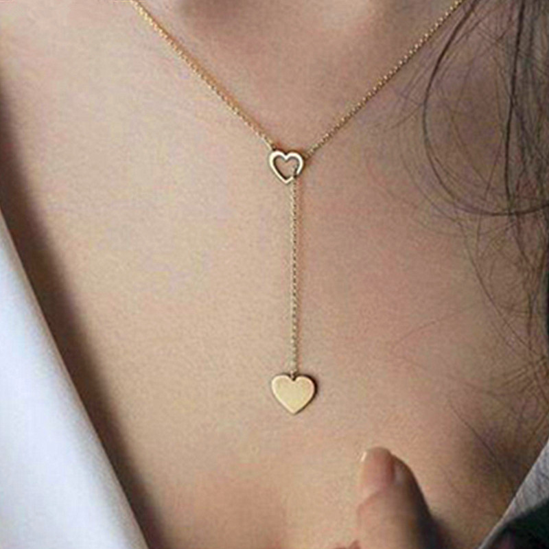 Крошечное ожерелье сердца для женщин короткая цепочка в форме сердца кулон ожерелье подарок этническое богемское Колье чокер Прямая поставка x51 - Окраска металла: x92gold