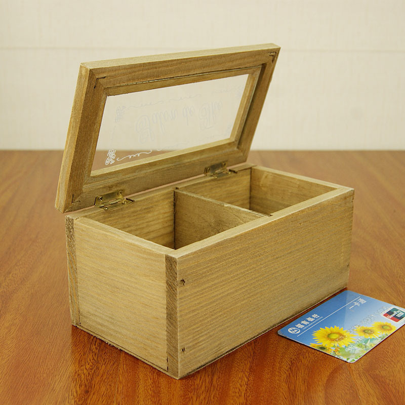 New Vintage Wooden Storage Box Sundries Case with Glass Retro Pen Pencil Case Holder Stationery Desk Organizer Hot Worldwide