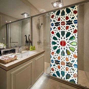 Caleidoscopio 3D Vintage, pegatina de decoración de puerta de cristal para el cuarto de baño, sala de estar, vinilo extraíble, decoración del hogar, papel tapiz autoadhesivo
