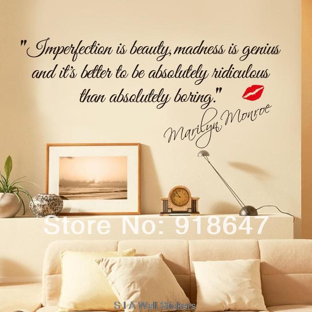 Neue Hohe Qualitat Englisch Zitate Wandaufkleber Unvollkommenheit Ist Schonheit Marilyn Monroe Wandtattoo Kunst Aufkleber