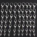 50 шт родиевых цветов застежки Омаров ювелирные изделия фурнитура DIY Изготовление браслета ожерелья ювелирные аксессуары 10 мм 12 мм 14 мм 16 мм ...