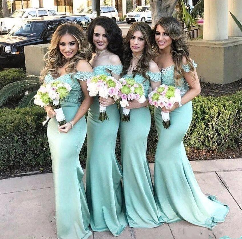 Robe demoiselle d'honneur épaule dénudée sirène bleu sarcelle dentelle longues robes de demoiselle d'honneur 2019 appliques robes de bal robes de soirée