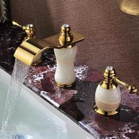 Leading European antique marble double the three hole waterfall basin faucet hot and cold high grade natural jade and gold