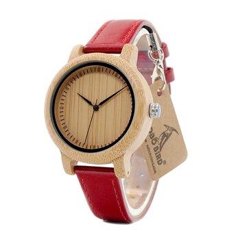 BOBO VOGEL WJ09 Eenvoudige Stijl Bamboe Vrouwen Horloge Bamboe Dial Echt Rood PU Lederen Band Quartz Horloges Relojes Mujer Accepteren OEM