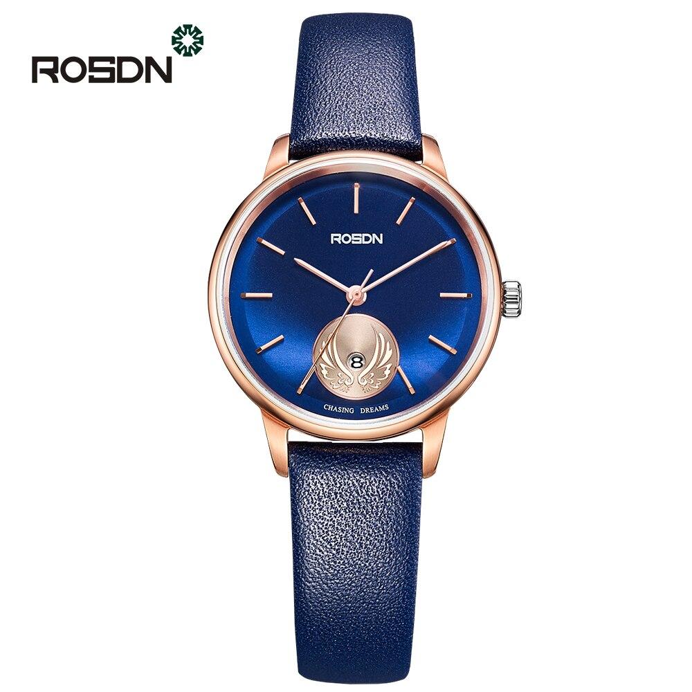 ROSDN Ultra Mince En Cuir Montre-Bracelet Femme Montres À Quartz Marque De Luxe Dames filles Montre-Bracelet relogio feminino Reloj Mujer