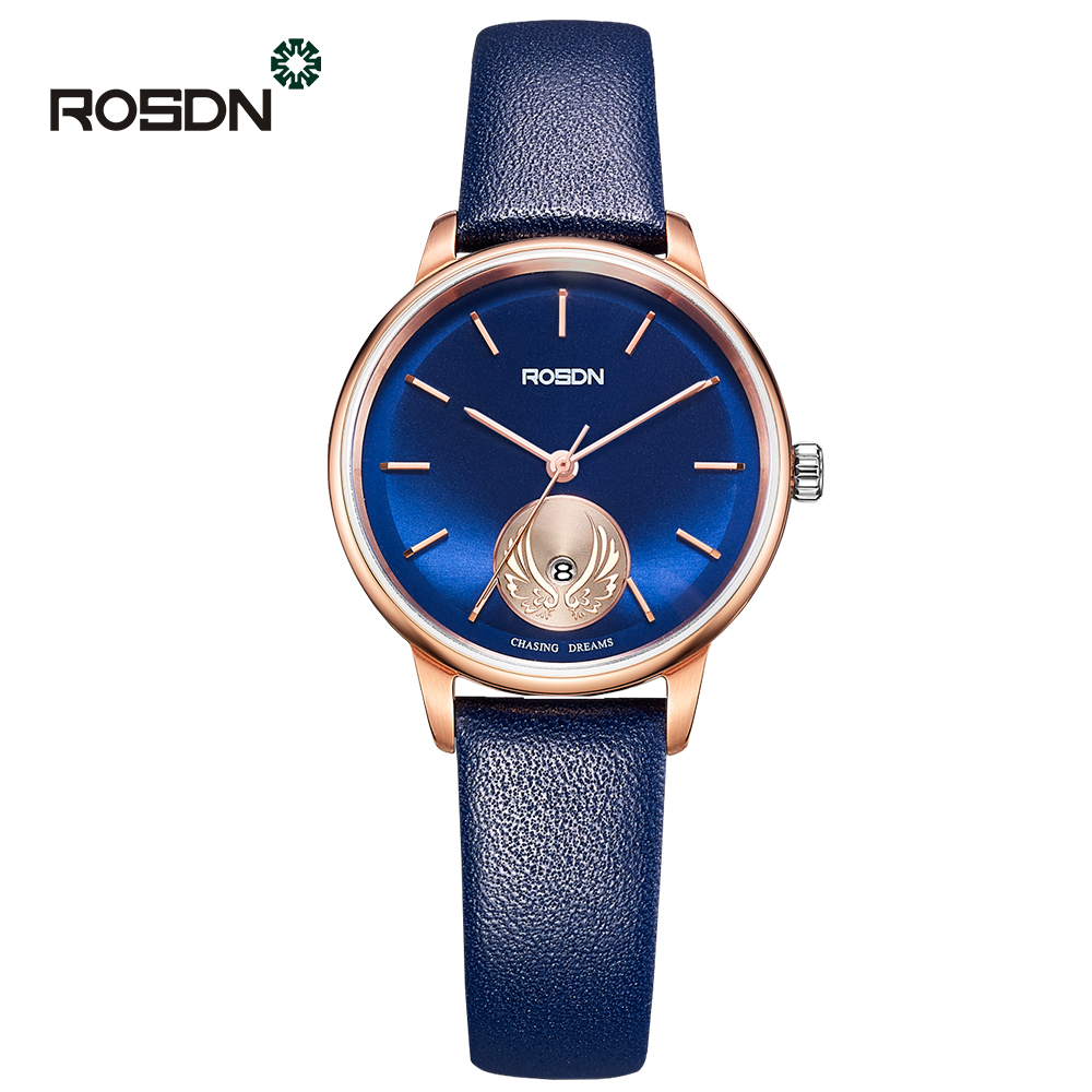 ROSDN Ultra Slim Leather Wrist Watch Woman Quartz Watches Brand Luxury Ladies girls Wristwatch relogio feminino Reloj Mujer meibo brand fashion women hollow flower wristwatch luxury leather strap quartz watch relogio feminino drop shipping gift 2012