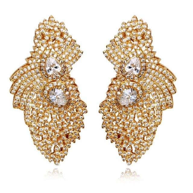 High Quality Gold Earrings Cubic Zirconia Women Stud Cz Micro Pave Setting Bridal Wedding