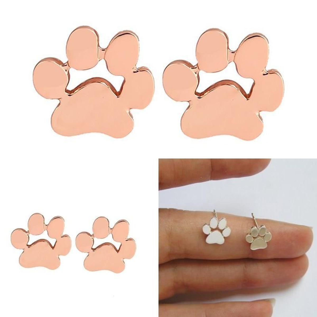 puppy women print pendientes piercing cute earring product stud paw jewelry dog christmas party andywongchina girls cat wholesale minimalist animal from