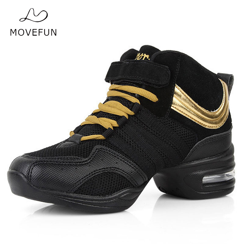 MoveFun New Soft Outsole Dance Sneakers Jazz Sko Kvinner Black Breath Dancing Shoes for Girls Apatos Baile Mujer-17