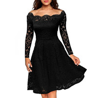 Vestidos New Spring Fashion Hollow Out Party Lace Dress High Quality Women Long Sleeve Slash Neck