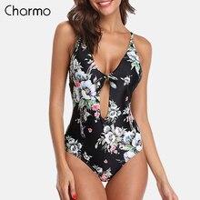 Charmo Women One Piece Swimsuit Strappy Bandage Swimwear Back Cross Bikini Bathing Suit Beachwear Monokini front bow-knot dress knot front two piece swimwear
