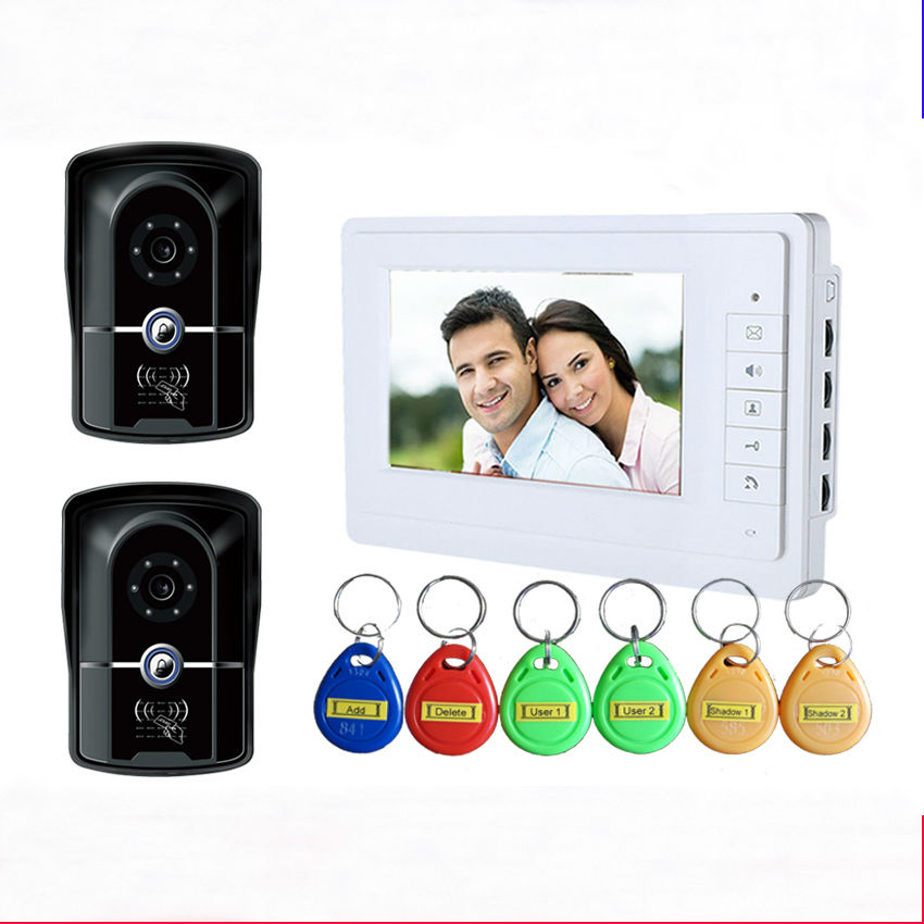 YobangSecurity 7 Wired Video Door Phone Doorbell Door Chime Intercom Entry System Kit with 2 Camera 1 Monitor Unlock RFID card diy wired 7 door intercom entry system camera video doorbell intercom electric lock kit for home security f1665