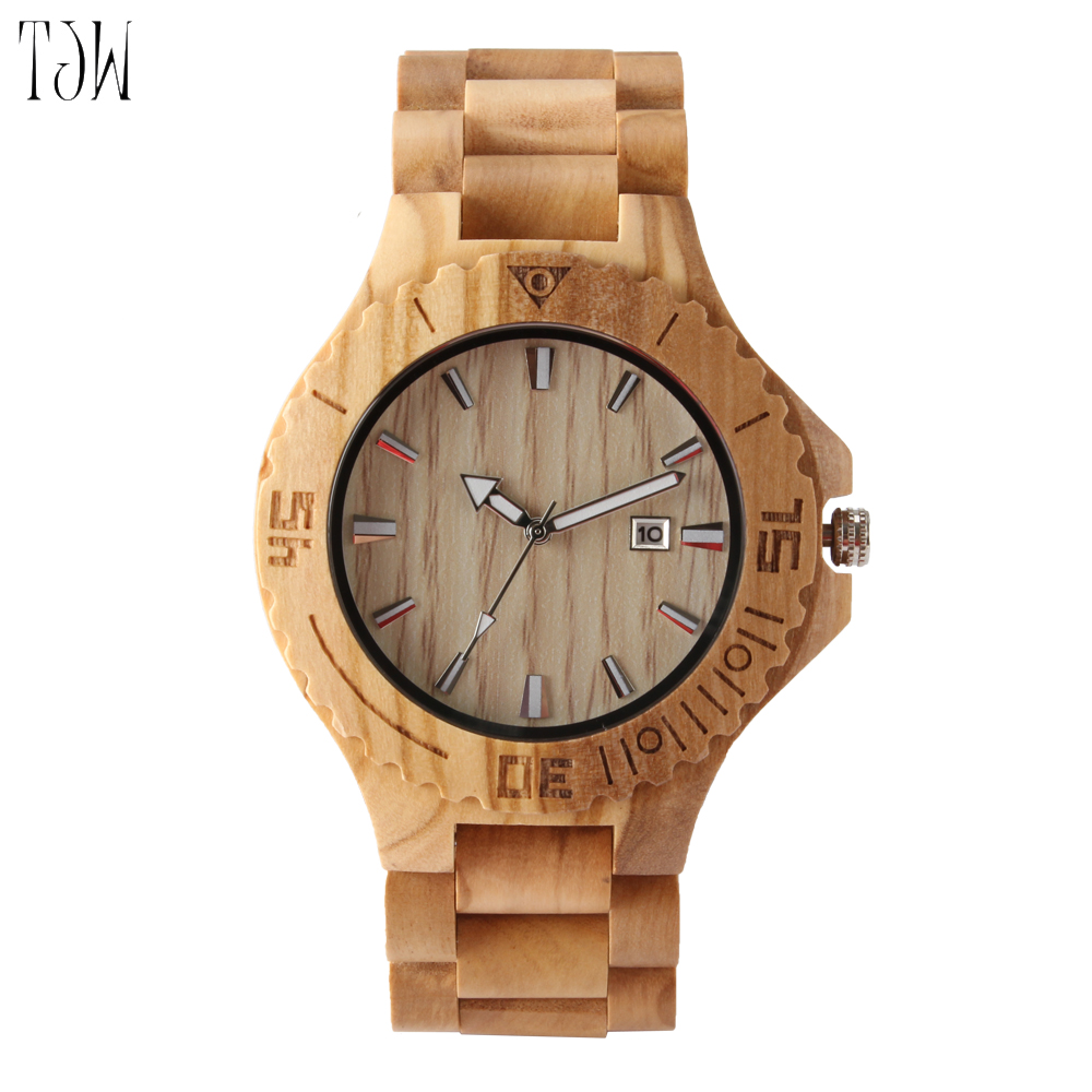 TJW Casual Handmade Nature Wood Bamboo Creative Men Women full wooden Band Strap Analog Wrist Watch Festival Memorial Day Gift bobo bird brand new sun glasses men square wood oversized zebra wood sunglasses women with wooden box oculos 2017