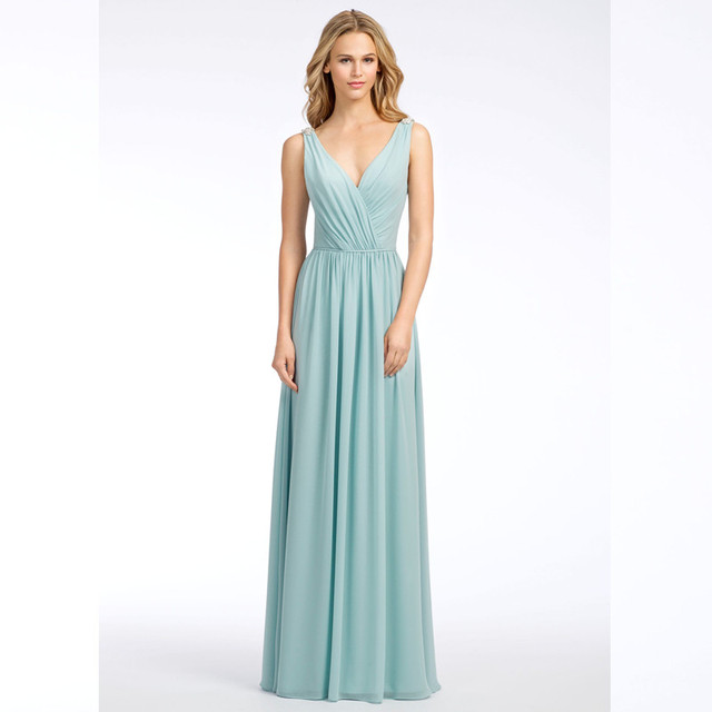 29800fecab3 2016 Graceful V-Neck Criss-Cross Long Bridesmaid Dress Lovely Light Blue  Chiffon A-Line Wedding Party Dress vestido de festa