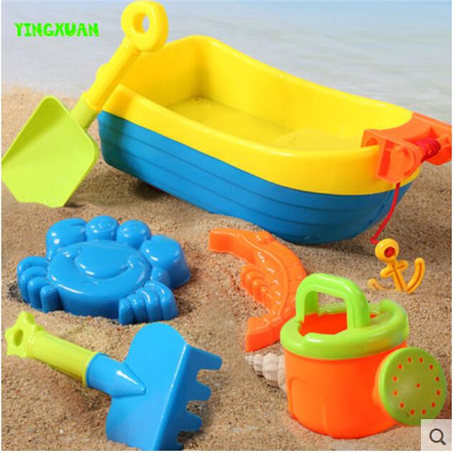 Happyxuan 6 unidades set niños playa barco de juguete cangrejo molde hervidor de agua y arena play niños al aire libre diversión