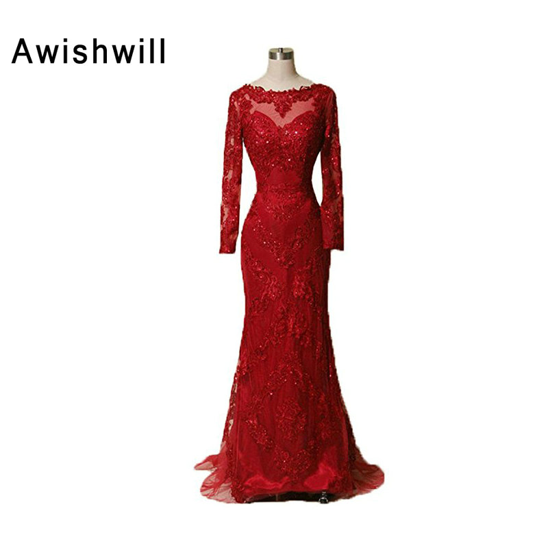 Charme appliques perline tulle sirena colore rosso manica lunga donne vestidos longos abiti da sera formale abiti 2019