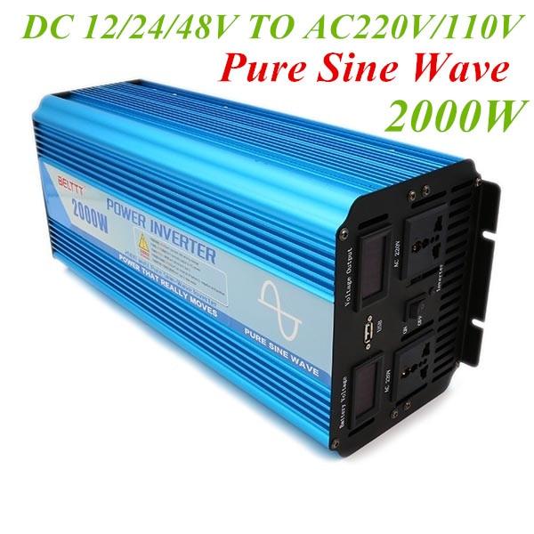 2000W Pure Sine Wave Inverter Peak Power 4000w 12V 24V 48V To AC 220V/110V Battery Converter