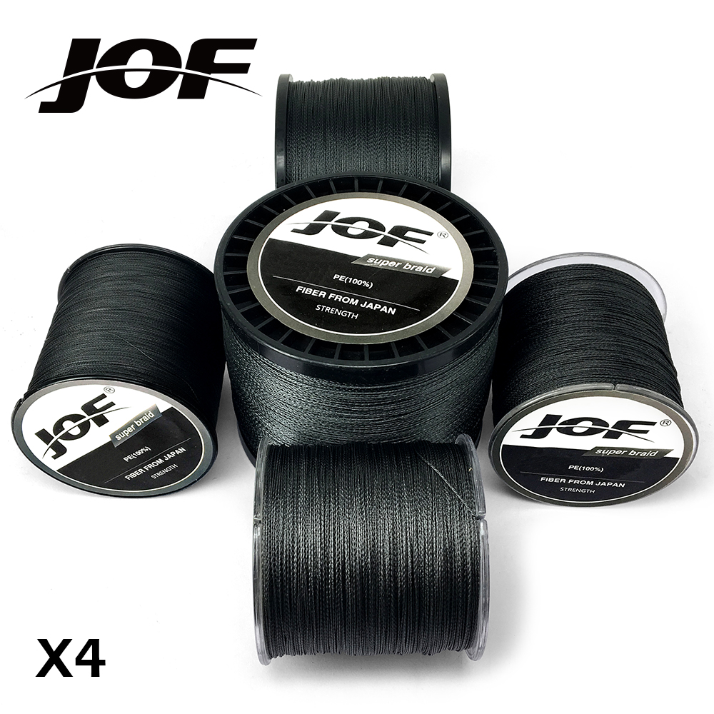 JOF 4 Strands 100M 300M 500M 1000M PE Black Braided Fishing Line Sea Saltwater Carp Fishing Weave Super Strong
