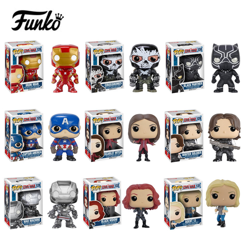 Funko POP Captain America 3 Civil War civil war winter soldier Iron man action Vinyl Figure mini  Model Toy with Fancy Box captain america civil war iron man 618 q version 10cm nendoroid pvc action figures model collectible toys
