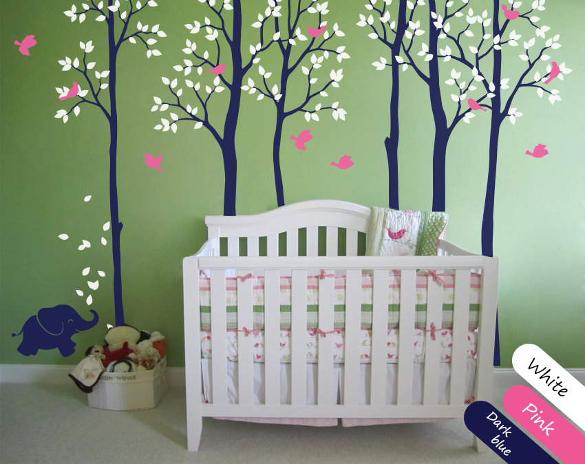 Morden Style Kids Nursery Bedroom Lovely Decorative Tree Wall Sticker Baby Decal Tree With Cute Elephant Birds Vinyl Mural Y 955 in Wall Stickers from Home Garden