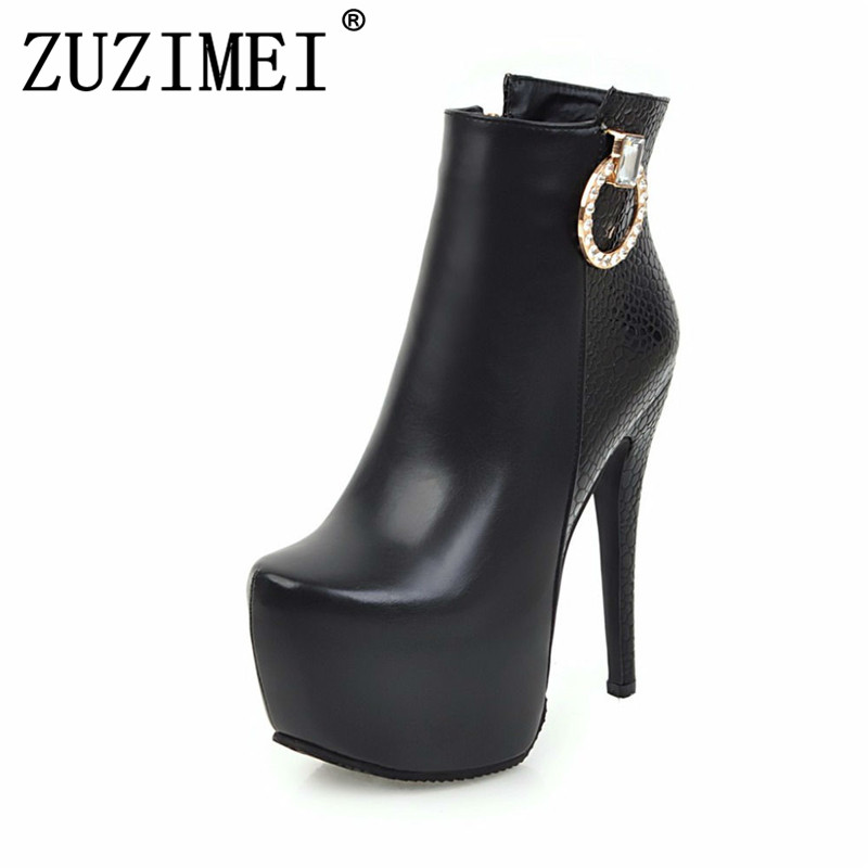 Women Shoes Sexy 2018 new winter ankle Boots Ladies Fashion High Heels 14 cm rhinestone red white platform boots size 34-43 annymoli women boots winter platform extreme high heels boots sexy fashion boots red bridal wedding party shoes big size 33 43