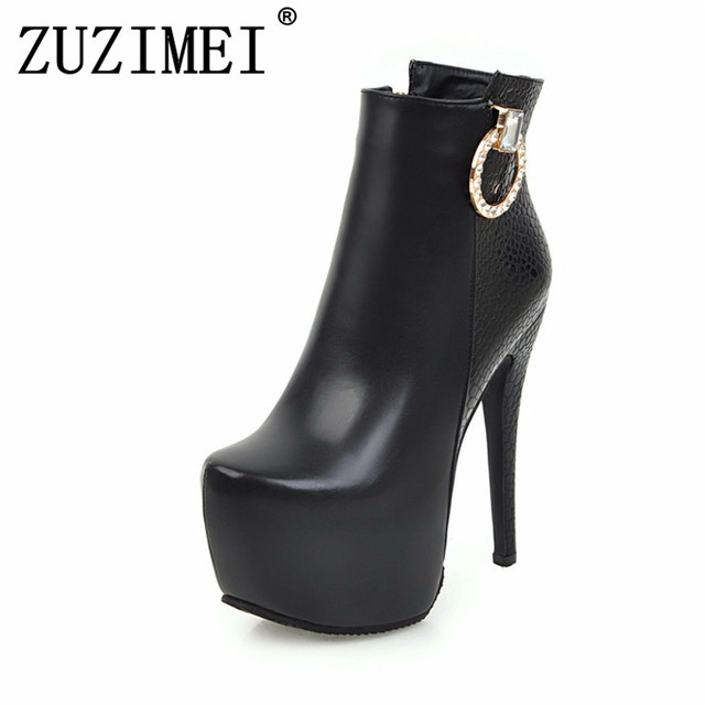 8590448a7f3 Women Shoes Sexy 2018 new winter ankle Boots Ladies Fashion High Heels 14  cm rhinestone red white platform boots size 34-43