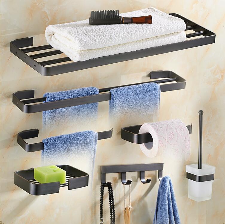 Латунный набор аксессуаров для ванной комнаты, Черный Масляный матовый квадратный держатель бумаги, полотенцесушитель, корзина для мыла, в
